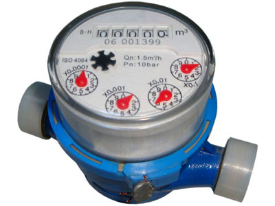Single jet dry type water meter with rotary register
